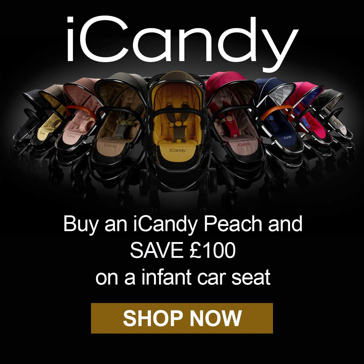 £100 off selected car seats with selected iCandy prams