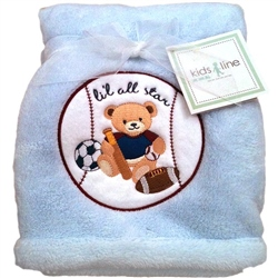 Kids Line Boa Blanket pram size Football Teddy Blue