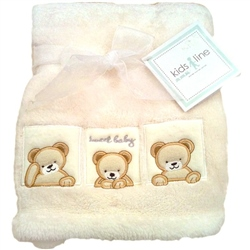 Kids Line Boa Blanket pram size Ecru Cream with Bear