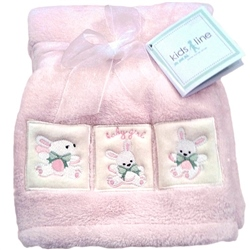Kids Line Boa Blanket pram size Pink with Bunny