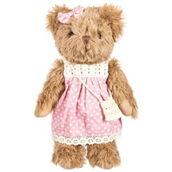 Powell Craft Bear with Light Pink Cord Dress