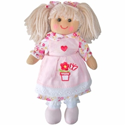 Powell Craft Mini Rag Doll Girl with Pink Flower Pot Dress