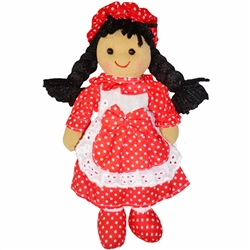 Powell Craft Mini Rag Doll Girl with Red Polka Dress