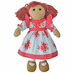 Powell Craft Medium Rag Doll Girl with Red Rose Dress