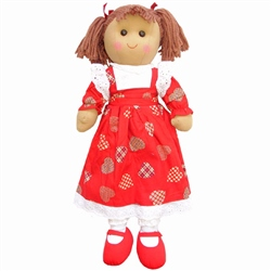 Powell Craft Large Rag Doll Girl with Love Heart Dress