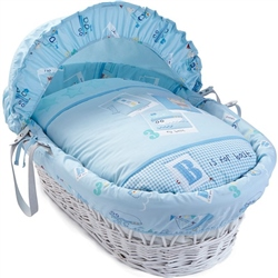 Clair De Lune Ahoy White Wicker Moses Basket