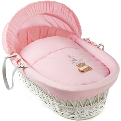 Clair De Lune Tippy Tumble White Wicker Moses Basket