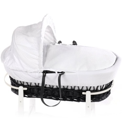 Clair De Lune Charcoal Wicker Moses Basket
