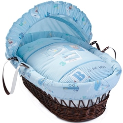 Clair De Lune Ahoy Dark Wicker Moses Basket