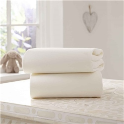 Clair De Lune Fitted Cotton Interlock Pram/Crib Sheets (2 Pack)
