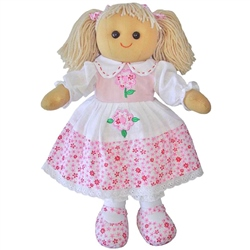 Powell Craft Medium Rag Doll with Pink Floral Dress
