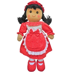 Powell Craft Medium Rag Doll with Red Polka Dot Apron