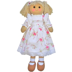 Powell Craft Large Rag Doll with White Rose Dress
