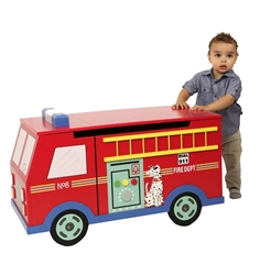 Teamson Fire Engine Trunk on Wheels