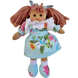 Powell Craft Small Rag Doll with Blue Floral Dress