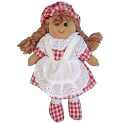 Powell Craft Small Rag Doll with Red Gingham Dress