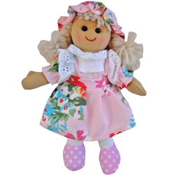 Powell Craft Small Rag Doll with Pink Floral Dress