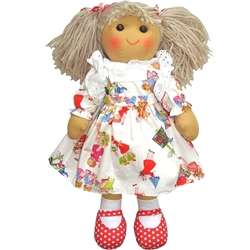 Powell Craft Medium Rag Doll with Girls at Play Dress