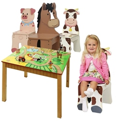 Teamson Happy Farm Table & 3 Chairs