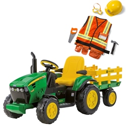 Peg Perego John Deere Ground Force with trailer 12 Volt (Option: + Construction Outfit)