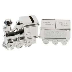 Bambino S/Plate Train Money Box & First Tooth/Curl Carriage