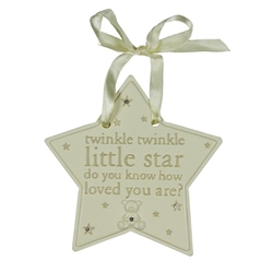 "Bambino Resin Hanging Little Star Plaque "" Twinkle Twinkle """