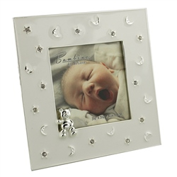 Bambino Silver Plated Frame Stars & Moon Teddy 3x3