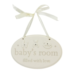 "Bambino Resin Hanging Plaque "" Baby's Room """