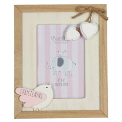 Bambino Vintage MDF Photo Frame Little Bird - Christening Pink