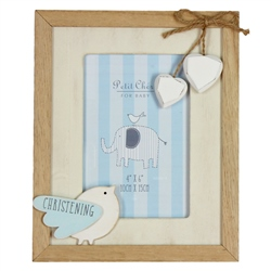 Bambino Vintage MDF Photo Frame Little Bird - Christening Blue