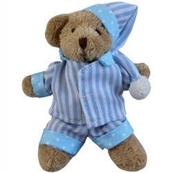 Powell Craft Mini Bear with Blue Striped Pyjamas and Night Cap