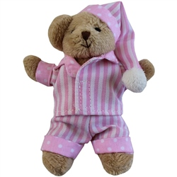 Powell Craft Mini Bear with Pink Striped Pyjamas and Night Cap