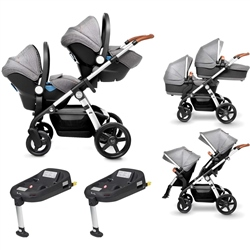 Silver Cross Wave Twin Pram + 2 Simplicity Car Seats + 2 Simplifix Bases
