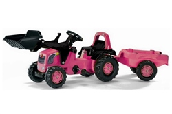 Rolly Toys Kids Pink Front loader Tractor and Trailer