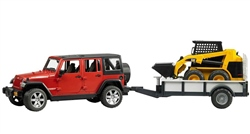 Bruder Jeep Wrangler Rubicon + Trailer + Cat Skid Steer Loader