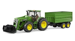 Bruder John Deere 7930 with frontloader and trailer