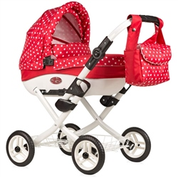 Roma Wynnie Dolls Pram Red polka