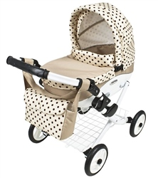 Roma Wynnie Dolls Pram Coffee Polka