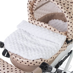 Roma Quilt and Pillow set for dolls pram - white dimple