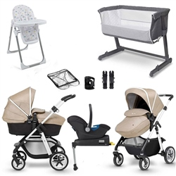 Silver Cross Pioneer Premium Travel & Nursery Bundle (Option: Silver frame/Linen Incl. Isofix)