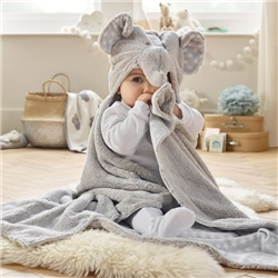 Clair De Lune Elephant Hooded Blanket