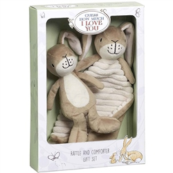 Guess How Much I Love You Little Nutbrown Hare Rattle & Comfort Blanket Gift Set