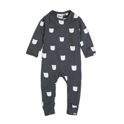 Tobias & The Bear Charcoal Bear Long Romper