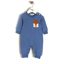 The Bonnie Mob Acorn - Birdseye Jaquard Playsuit in Blue