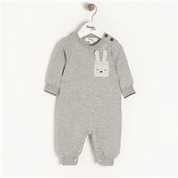 The Bonnie Mob Acorn - Birdseye Jaquard Playsuit in Grey