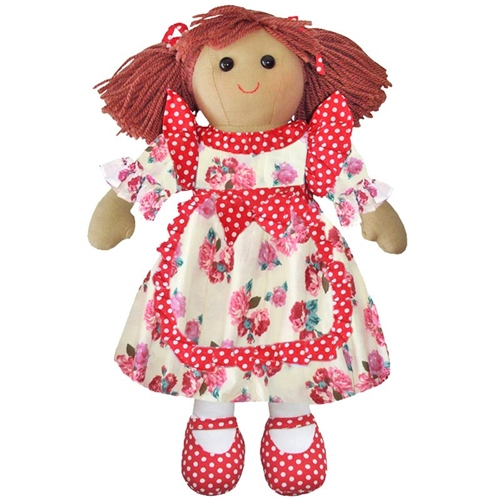 Powell Craft Medium Rag Doll Red Rose Dress  - Click to view larger image