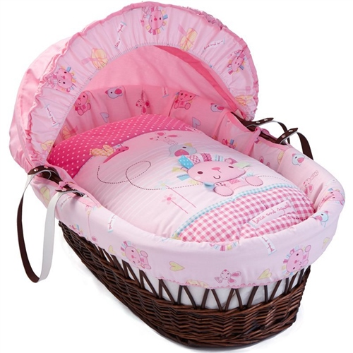 Clair De Lune Lottie and Squeek Dark Wicker Moses Basket  - Click to view larger image