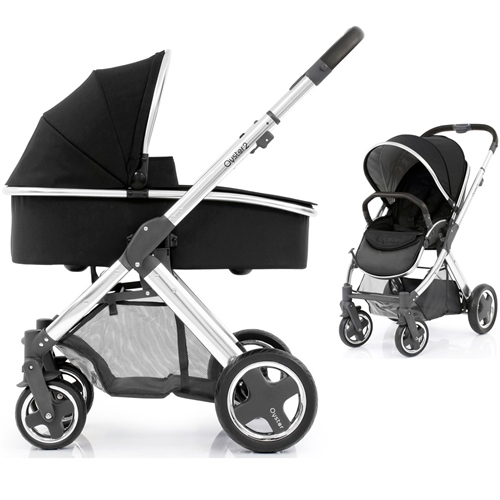 BabyStyle Oyster 2 Pram Ink Black on Mirror Chassis - Click to view larger image