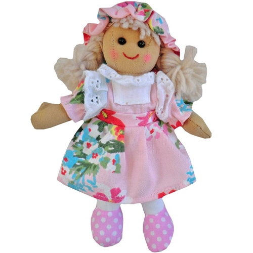 Powell Craft Small Rag Doll with Pink Floral Dress  - Click to view larger image