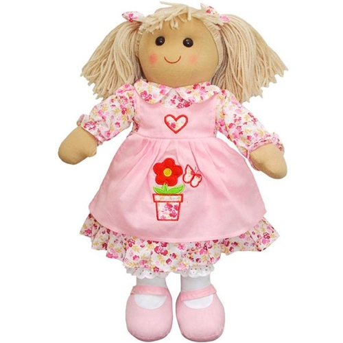 Powell Craft Medium Rag Doll with Flower Pot Dress  - Click to view larger image